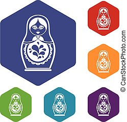 Matryoshka icons set rhombus in different colors isolated on...