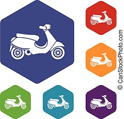 Vespa scooter icons set rhombus in different colors isolated...