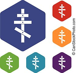 Orthodox cross icons set rhombus in different colors...