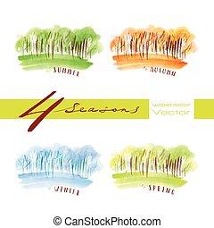 Watercolor vector seasons - Vector watercolor illustration...