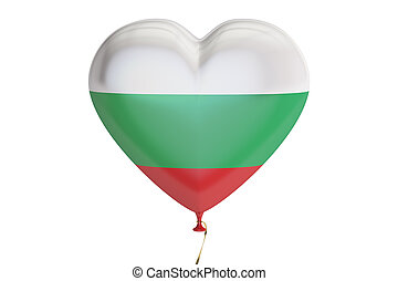 balloon with Bulgaria flag in the shape of heart, 3D...
