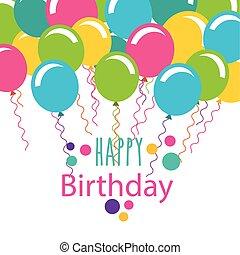 happy birthday celebration card with balloons