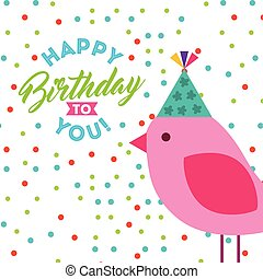 happy birthday celebration card with bird
