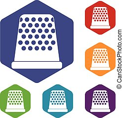 Thimble icons set rhombus in different colors isolated on...