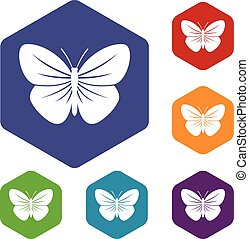 Black butterfly icons set rhombus in different colors...
