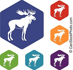 Moose icons set rhombus in different colors isolated on...