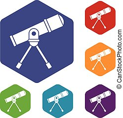 Space telescope icons set rhombus in different colors...