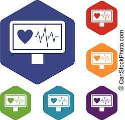 Heartbeat icons set rhombus in different colors isolated on...