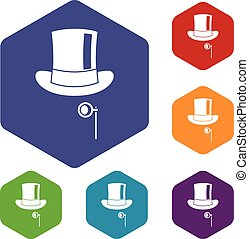 Hat with monocle icons set rhombus in different colors...