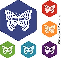 Stripped butterfly icons set rhombus in different colors...