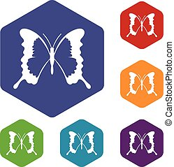 Swallowtail butterfly icons set rhombus in different colors...