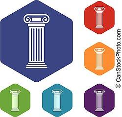 Roman column icons set