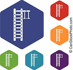 Swedish ladder icons set rhombus in different colors...
