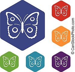 Butterfly peacock eye icons set rhombus in different colors...
