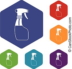 Spray icons set rhombus in different colors isolated on...