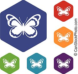 Small butterfly icons set rhombus in different colors...
