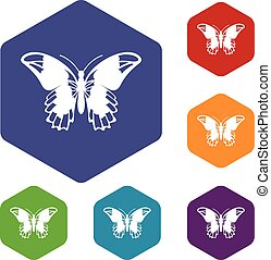 Admiral butterfly icons set rhombus in different colors...