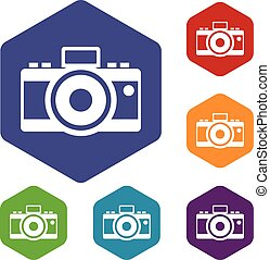Photocamera icons set rhombus in different colors isolated...