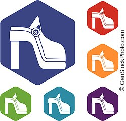 Women shoe icons set