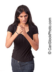 Woman making fists - An attractive Indian woman, shot...