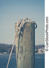 Dock Post in Point Pleasant - A dock post with a rope to tie...