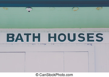 Point Pleasant Bath House - A few of the signs on a bath...