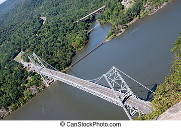 Bear Mountain Bridge taken from the top of Anthony's Nose.
