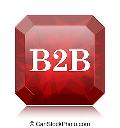 B2B icon, red website button on white background.