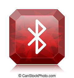 Bluetooth icon, red website button on white background.