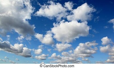 day sky with cumulus clouds, panning