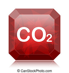 CO2 icon, red website button on white background.