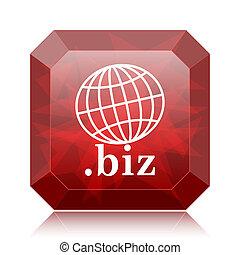 .biz icon, red website button on white background.