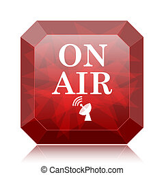 On air icon, red website button on white background.