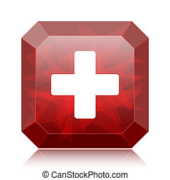 Medical cross icon, red website button on white background.