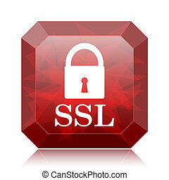 SSL icon, red website button on white background.
