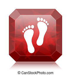 Foot print icon, red website button on white background.