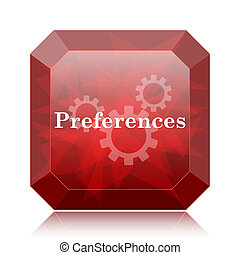 Preferences icon, red website button on white background.