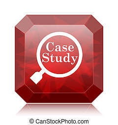 Case study icon, red website button on white background.