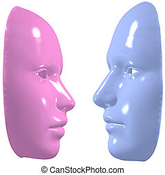 blue pink mask man woman face off - Male and female masks...