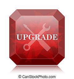 Upgrade icon, red website button on white background.