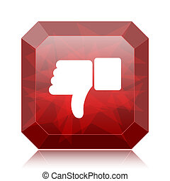 Thumb down icon, red website button on white background.