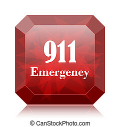 911 Emergency icon, red website button on white background.