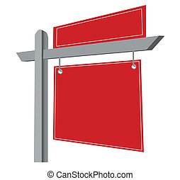 Blank Real Estate Sign Isolated on a White Background....