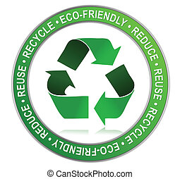 Recycle - Protect the World from pollution sticker. vector...
