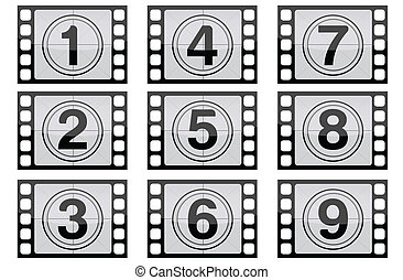 Film Strip - Highly detailed film countdown numbers one...