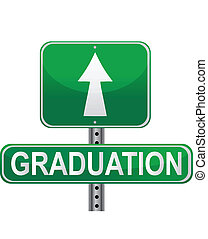 Graduation street sign over a white background