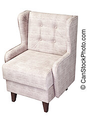 Single linen arm chair upholstered fabric, isolated on white...