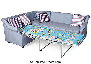 Corner sleeper sofa folding bed, upholstered in fabric light...