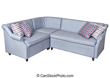 Light gray corner fold-out upholstered in fabric sofa bed,...