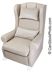 One light gray rocking chair upholstered fabric, isolated on...